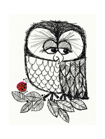 Retro Black and White Owl with Ladybug Kunsttrykk