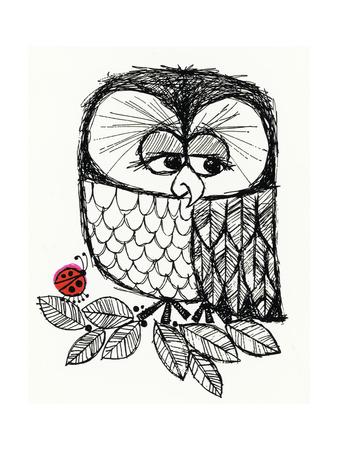 Retro Black and White Owl with Ladybug Print