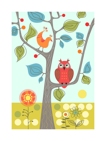 Owl in Tree Art Print