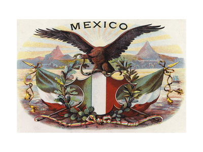 Mexican Flag and Eagle Poster