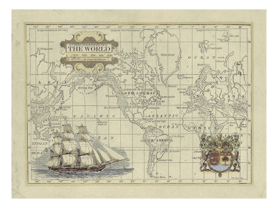 Antique Map of the World Giclee Print