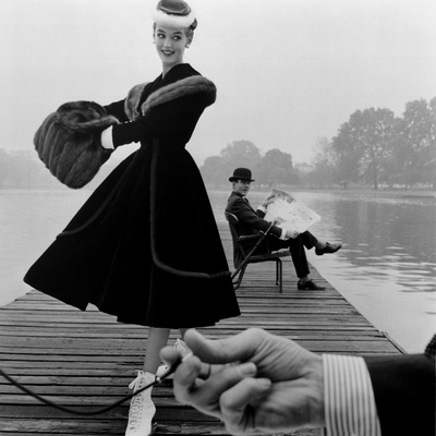Skater in a Digby Morton Fur Trimmed Velvet Coat and Michael Bentley in the Background, 1955 Giclee Print by John French
