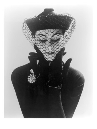 Anne Gunning in an Erik felt and Velvet Mandarin Hat with Veil, 1950 Giclee Print by John French