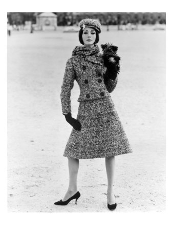 Christian Dior Tweed Suit with Cap and Scarf, 1961 Giclee Print by John French
