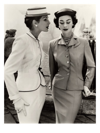 Fiona Campbell-Walter and Anne Gunning in Tailored Suits, 1953 Giclee Print by John French