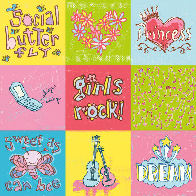Girls Rock 9 Patch Art Print