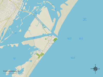 Political Map of Port Aransas, TX Print
