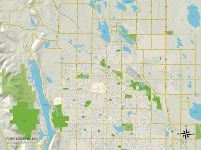 Political Map of Fort Collins, CO Art