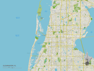 Political Map of Clearwater, FL Prints