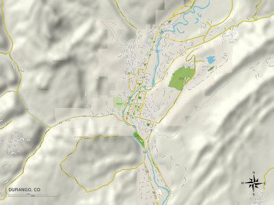 Political Map of Durango, CO Prints