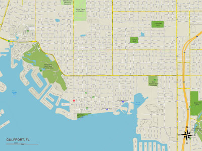 Political Map of Gulfport, FL Prints