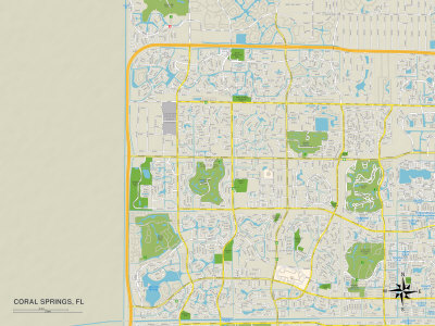 Political Map of Coral Springs, FL Posters