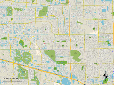 Political Map of Plantation, FL Prints