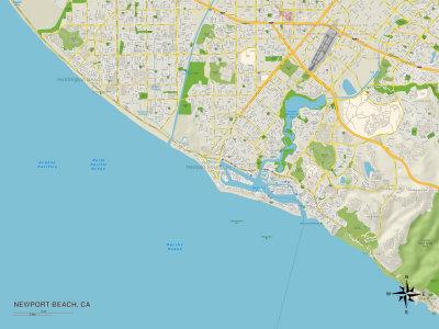 Political Map of Newport Beach, CA Print