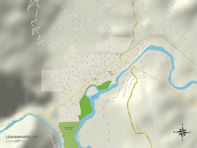 Political Map of Leavenworth, WA Print