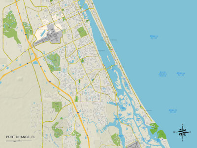 Political Map of Port Orange, FL Prints