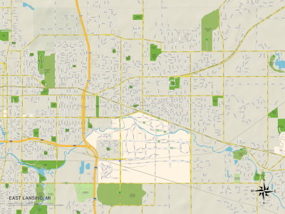 Political Map of East Lansing, MI Prints