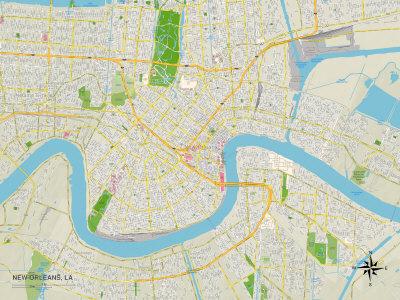 Political Map of New Orleans, LA Art