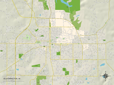 Political Map of Bloomington, IN Prints