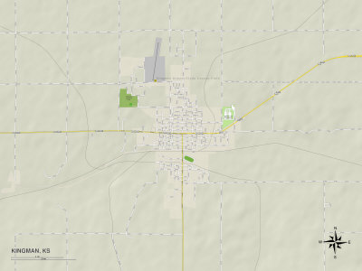 Political Map of Kingman, KS Prints