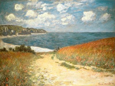 Pad door het koren bij Pourville, ca.1882 Posters van Claude Monet