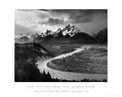Tetongebergte met Snake River, Grand Teton National Park, VS, ca.1942 Poster van Ansel Adams