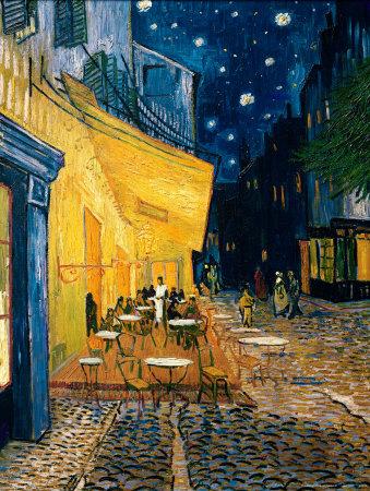 Kaffeserveringen på Place du Forum, Arles, ca 1888 Affischer av Vincent van Gogh