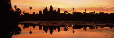 Silhouette of a Temple, Angkor Wat, Angkor, Cambodia Photographic Print by  Panoramic Images