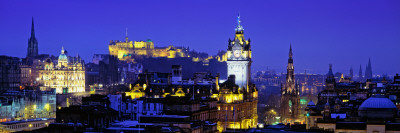 Buildings Lit Up at Night with a Castle in the Background, Edinburgh Castle, Edinburgh, Scotland Photographic Print by  Panoramic Images