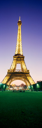 Tower Lit Up at Night, Eiffel Tower, Champ De Mars, Paris, Ile-De-France, France Photographic Print by  Panoramic Images