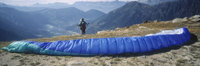 Paraglider Preparing to Start, Mont Blanc, Chamonix, Haute-Savoie, Rhone-Alpes, France Photographic Print by  Panoramic Images