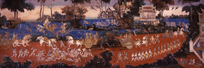 Ramayana Murals in a Palace, Royal Palace, Phnom Penh, Cambodia Photographic Print by  Panoramic Images