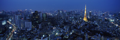 Tower Lit Up at Dusk in City, Tokyo Tower, Minato Ward, Kanto Region, Honshu, Japan Photographic Print by  Panoramic Images