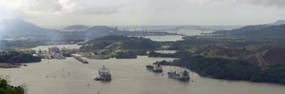 Container Ships in a Canal, Miraflores, Panama Canal, Panama Photographic Print by  Panoramic Images