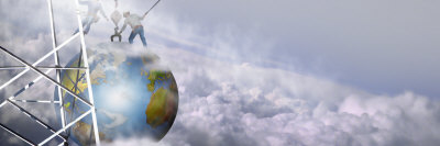 Construction Workers Attaching a Crane to Earth with Clouds Photographic Print by  Panoramic Images