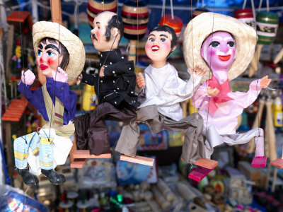 Close-Up of Marionettes for Sale at a Market Stall, Queretaro City, Queretaro State, Mexico Photographic Print