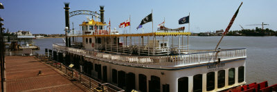 Creole Queen Riverboat Moored at a Dock, New Orleans, Louisiana, USA Photographic Print
