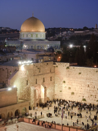 Wailing Wall, Western Wall and Dome of the Rock Mosque, Jerusalem, Israel Photographic Print by Michele Falzone