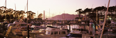 Boats Moored at a Harbor with a Bridge in Background, Golden Gate Bridge, San Francisco, California Photographic Print
