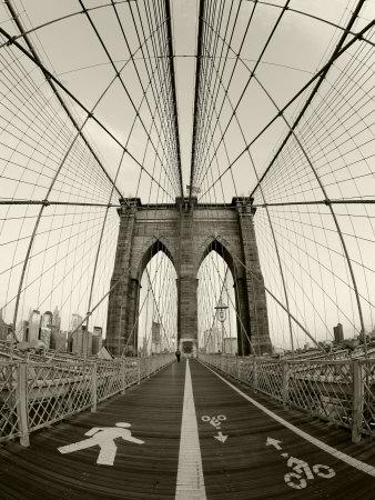 New York City, Manhattan, Brooklyn Bridge at Dawn, USA Photographic Print by Gavin Hellier