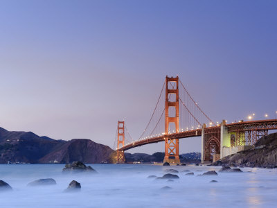 California, San Francisco, Baker's Beach and Golden Gate Bridge, USA Photographic Print by Michele Falzone
