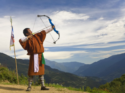 Archery Competition, Bumthang, Bhutan Photographic Print by Peter Adams