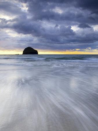Gull Rock at Sunset, Trebarwith Strand, Cornwall, UK Photographic Print by Nadia Isakova