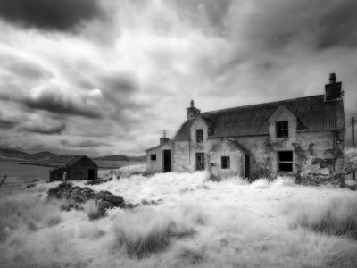 Infrared Image of a Derelict Farmhouse Near Arivruach, Isle of Lewis, Hebrides, Scotland, UK Photographic Print by Nadia Isakova