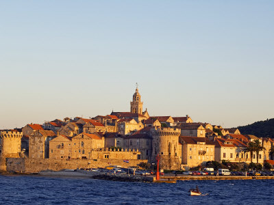 Dalmatia Coast Korcula Island Seafront Harbour View of Medieval Old Town and City Walls Photographic Print by Christian Kober