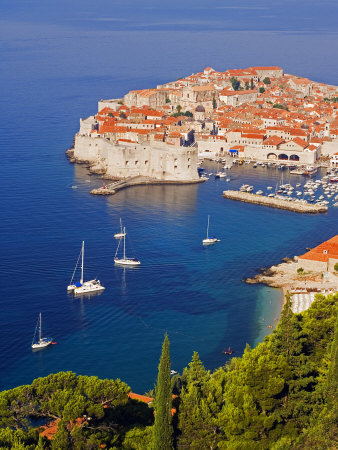 Unesco World Heritage Old Town Harbour, Dubrovnik, Croatia Photographic Print