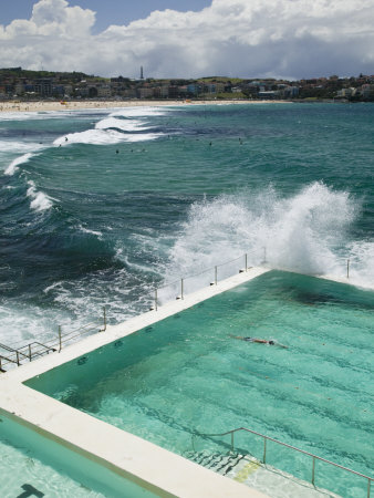 New South Wales, Sydney, Bondi Beach, Bondi Icebergs Swimming Club Pool, Australia 写真プリント : ウォルター・ビビコウ