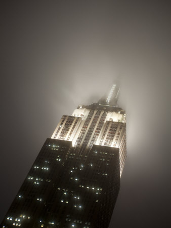New York City, Manhattan, Empire State Building on a Rainy Evening- Low Angle View, USA Photographic Print by Gavin Hellier