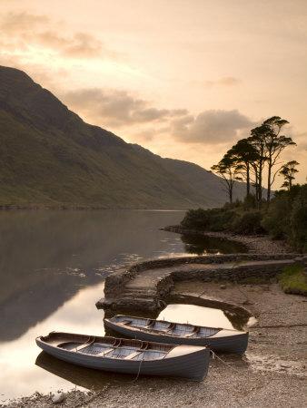 Fly Fishing Boats, Connemara National Park, Connemara, Co, Galway, Ireland Photographic Print by Doug Pearson