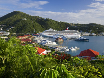 Us Virgin Islands, St, Thomas, Charlotte Amalie and Havensight Cruise Ship Dock, Caribbean Photographic Print by Gavin Hellier